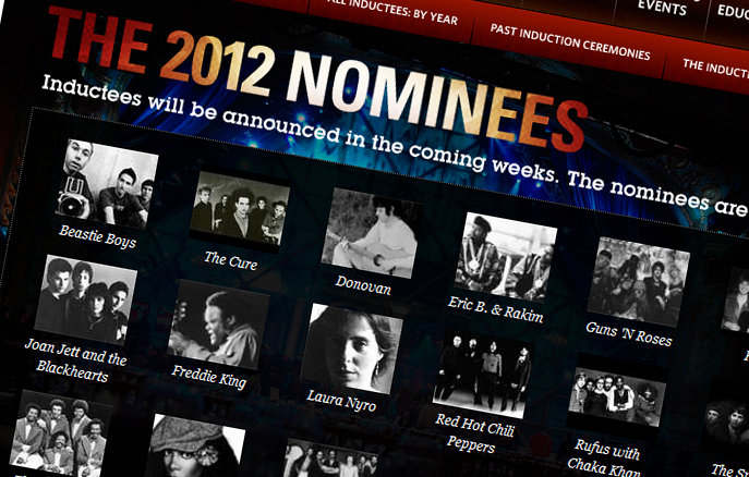 Screenshot der rockhall.com Nominierten