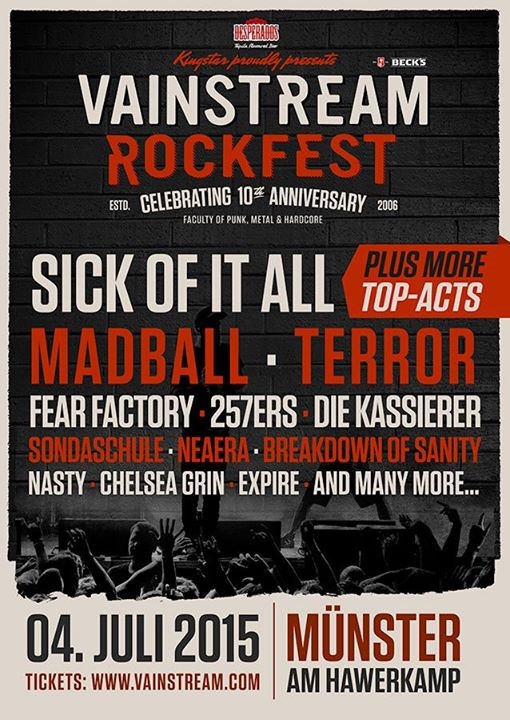Vainstream 2015 auch mit Sick Of It All, Madball, Nasty und Breakdown Of Sanity, Quelle: Festival