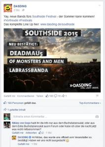 Screenshot facebook.com/dasding, 05.02.2015 08:30