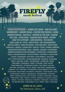 Firefly 2015 Lineup mit Kings Of Leon, The Killers. Morrissey, Bildquelle: Festival