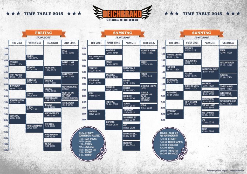 Deichbrand 2015 Timetable, Bildquelle: Deichbrand Festival