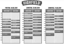 Highfield 2016 Timetable, Quelle: Highfield Festival
