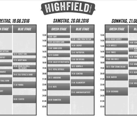 Highfield 2016 Timetable, Quelle: Highfield Festival