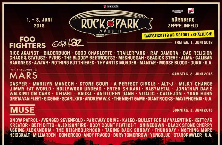 Rock im Park 2018 Tagesverteilung, Quelle: Festival