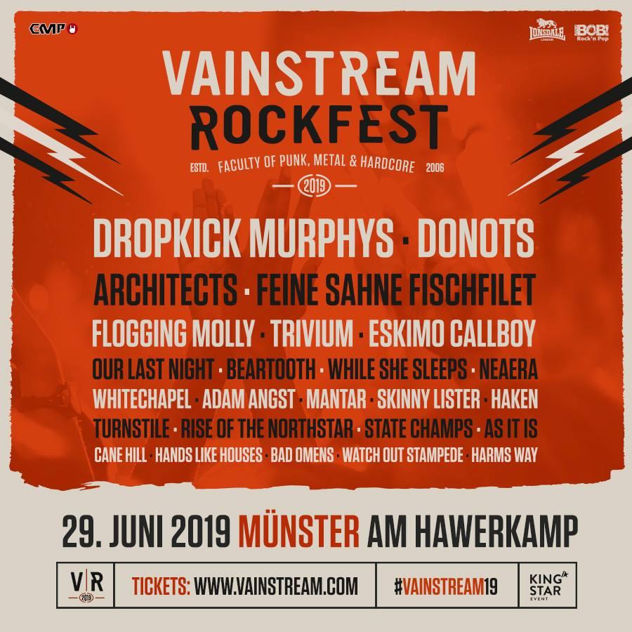 Vainstream 2019 Lineup, Stand 06.02.2019, Bildquelle: Festival
